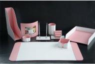 Набор настольный BUVARDO, натуральная кожа. Цвет - белый и розовый.